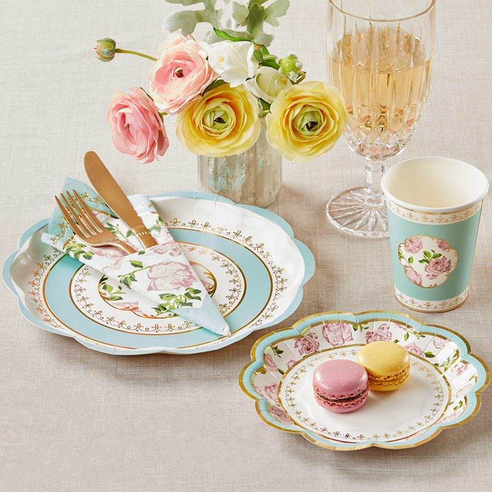 Tea Time Whimsy 72 Piece Party Tableware Set - Blue (16 Guests)