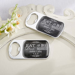 Personalized Silver Bottle Opener - Eat, Drink & Be Married