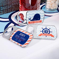 Personalized Silver Bottle Opener - Nautical Birthday