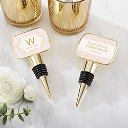 Personalized Gold Bottle Stopper with Epoxy Dome - Modern Romance