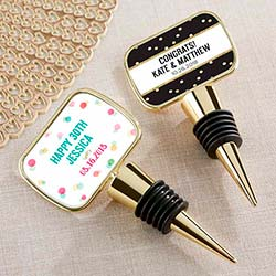 Personalized Party Time Gold Bottle Stopper with Epoxy Dome