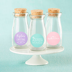 Personalized Vintage Milk Bottle Favor Jar - Custom Logo (Set of 12)