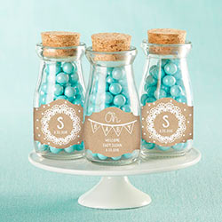Personalized Milk Jar - Rustic Charm Baby Shower (Set of 12)