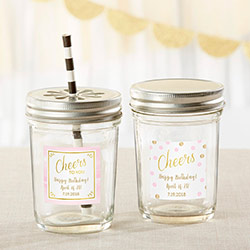 Personalized 8 oz. Glass Mason Jar - Birthday For Her (Set of 12)