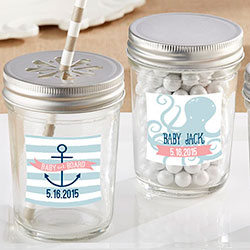 Personalized 8 oz. Glass Mason Jar - Kates Nautical Baby Shower Collection (Set of 12)