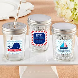 Personalized 8 oz. Glass Mason Jar - Kates Nautical Birthday Collection (Set of 12)
