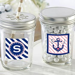 Personalized 8 oz. Glass Mason Jar - Kates Nautical Bridal Shower Collection (Set of 12)