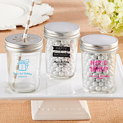 Personalized Printed 8 oz. Glass Mason Jar - Birthday (Set of 12)