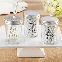 Personalized Printed Mason Jar - Mr. & Mrs. (Set of 12)