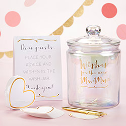 Iridescent Wedding Wish Jar with 100 Heart Shaped Cards