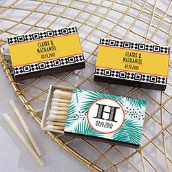 Personalized Black Matchboxes - Tropical Chic (Set of 50)