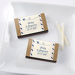 Personalized Black Matchboxes - Travel & Adventure (Set of 50)