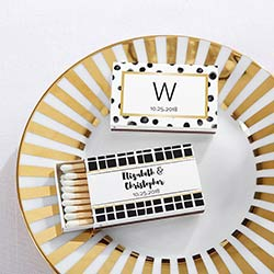 Personalized White Matchboxes - Modern Classic (Set of 50)