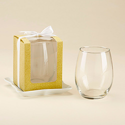 Gold 15 oz. Stemless Wine Glass Box (Set of 12)