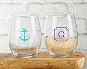 Personalized 15 oz. Stemless Wine Glass - Monogram