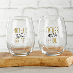 Parents of the Bride 15 oz. Stemless Wine Glass (Set of 2)