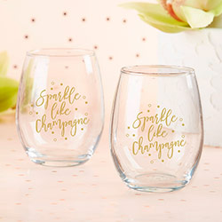 Sparkle Like Champagne 15 oz. Stemless Wine Glass (Set of 4)