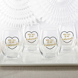 Gold Will You Be My Bridesmaid 15 oz. Stemless Wine Glass (Set of 4)