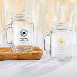 Personalized 16 oz. Mason Jar Mug - Sunflower