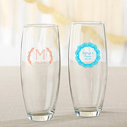 Personalized 9 oz. Stemless Champagne Glass - Rustic Charm Wedding