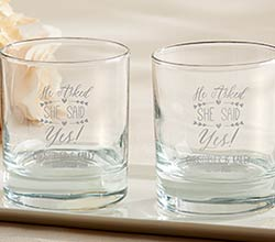 Personalized 9 oz. Rocks Glass – He Asked, She Said Yes