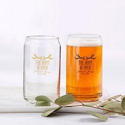 Personalized 16 oz. Beer Can Glass - The Hunt is Over