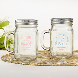 Personalized 12 oz. Mason Jar Mug - Baby Shower