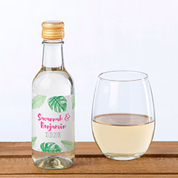 Personalized Mini Wine Bottle Labels - Pineapples and Palms